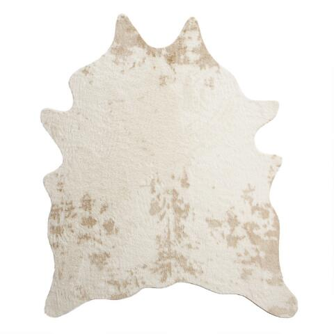Ivory Printed Faux Cowhide Area Rug Previous V3 V1