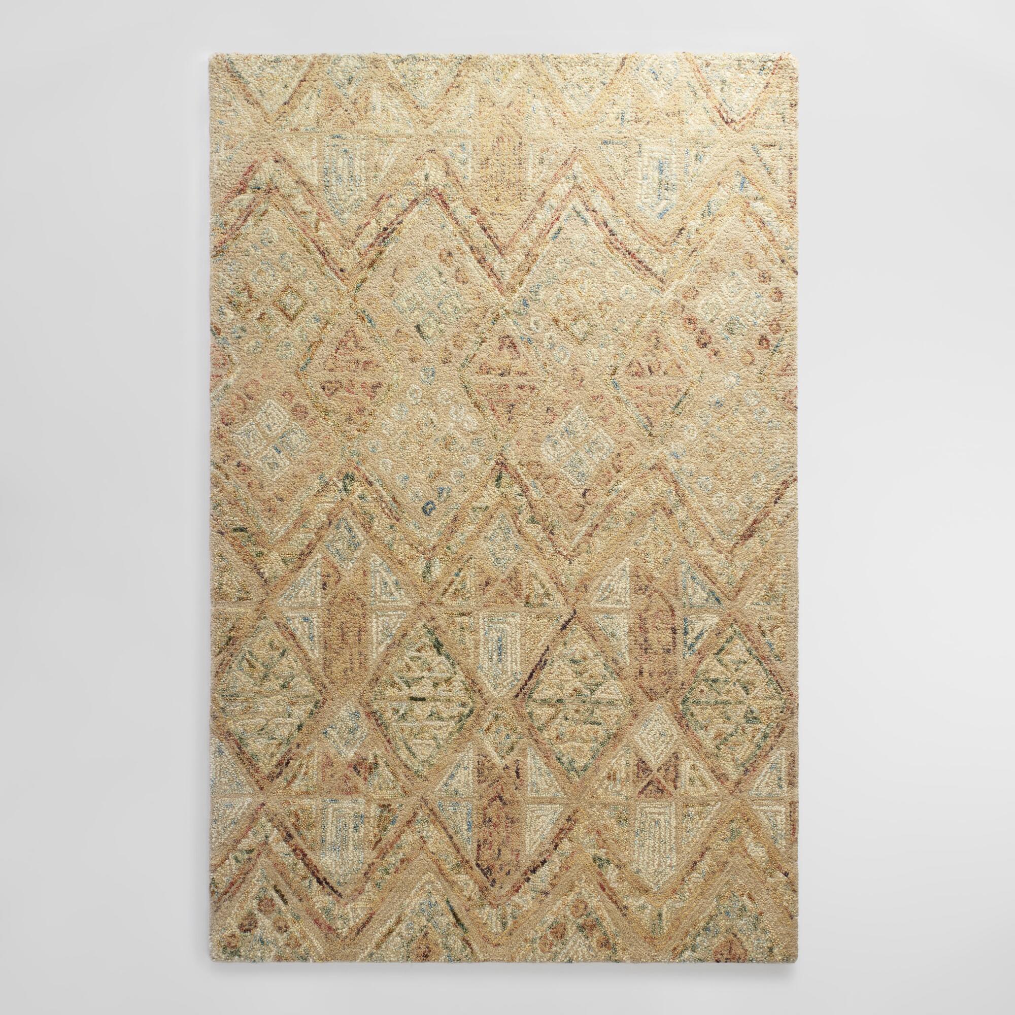 Light Brown Tufted Wool Maris Area Rug: Blue/Brown - 8' x 10' by World Market 8Ftx10Ft