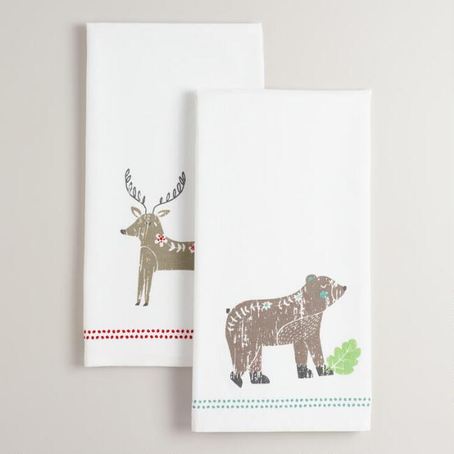 Deer and Bear Kitchen Towels Set of 2