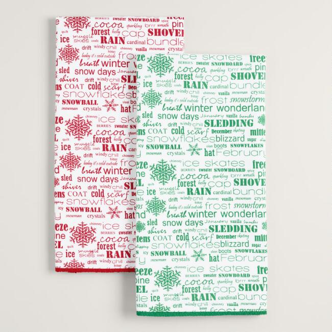 Winter Words Kitchen Towels Set of 2
