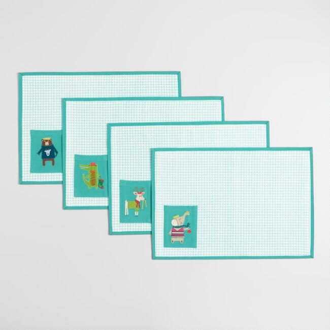 Holiday Animals Kids Placemats with Pockets Set of 4
