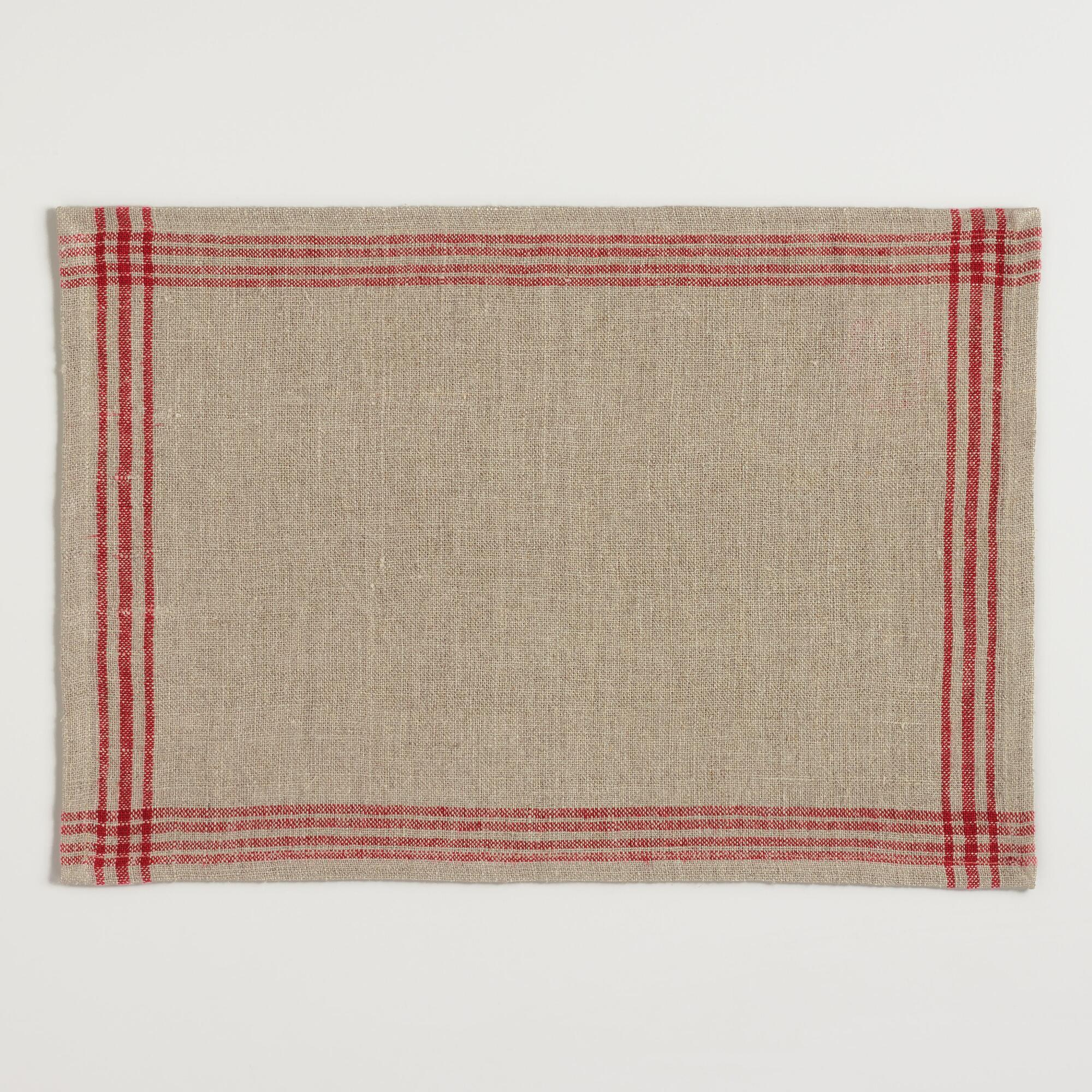 Red Stripe Linen Placemats Set of 4: Red/Natural - Natural Fiber by World Market