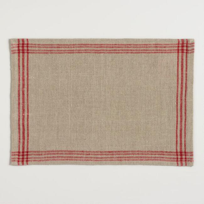 Red Stripe Linen Placemats Set of 4