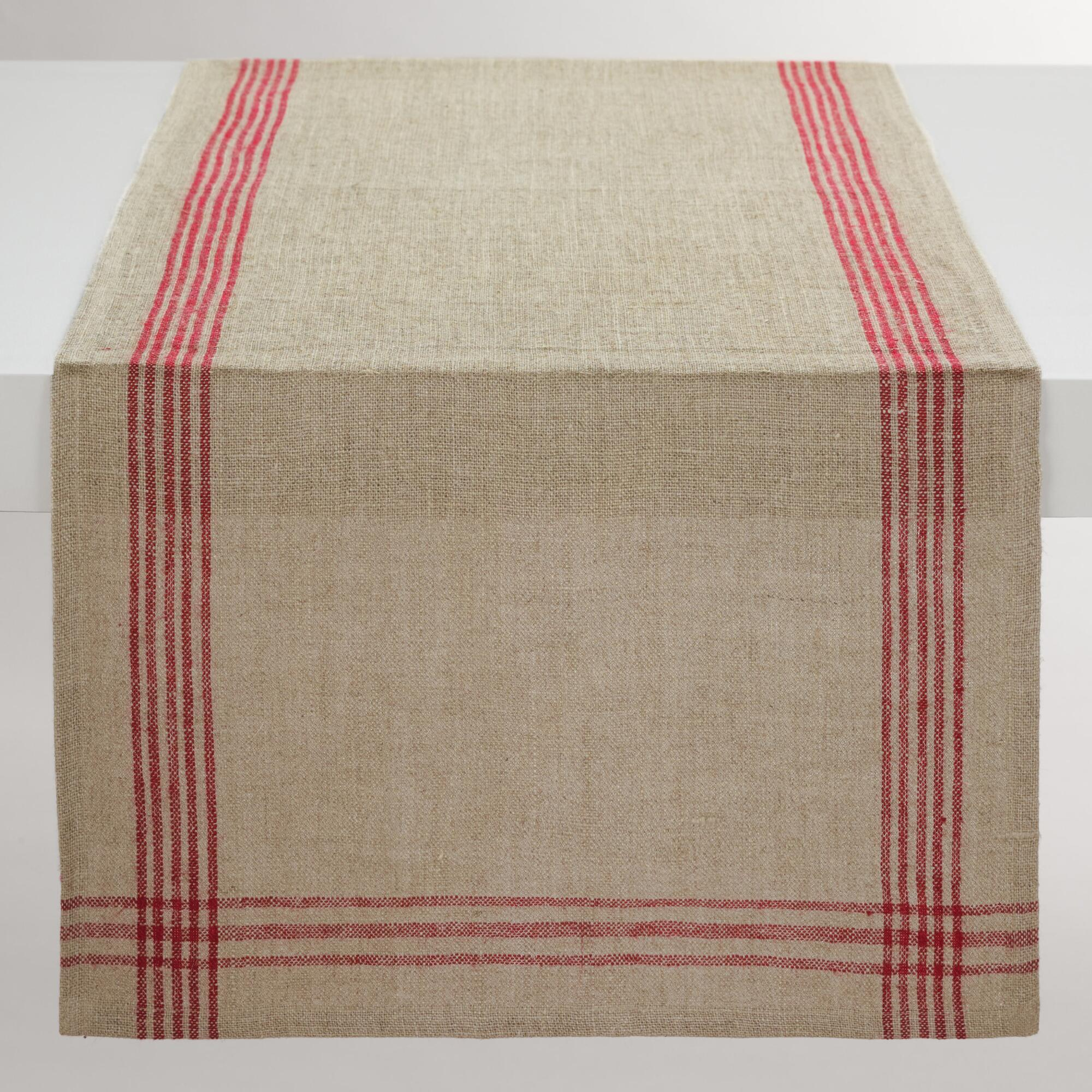 Red Stripe Linen Table Runner: Red/Natural - Natural Fiber by World Market