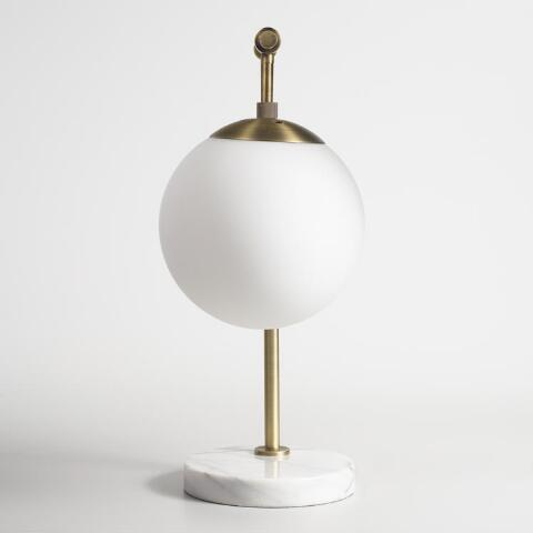 v2 - Frosted Glass And Marble Globe Table Lamp World Market