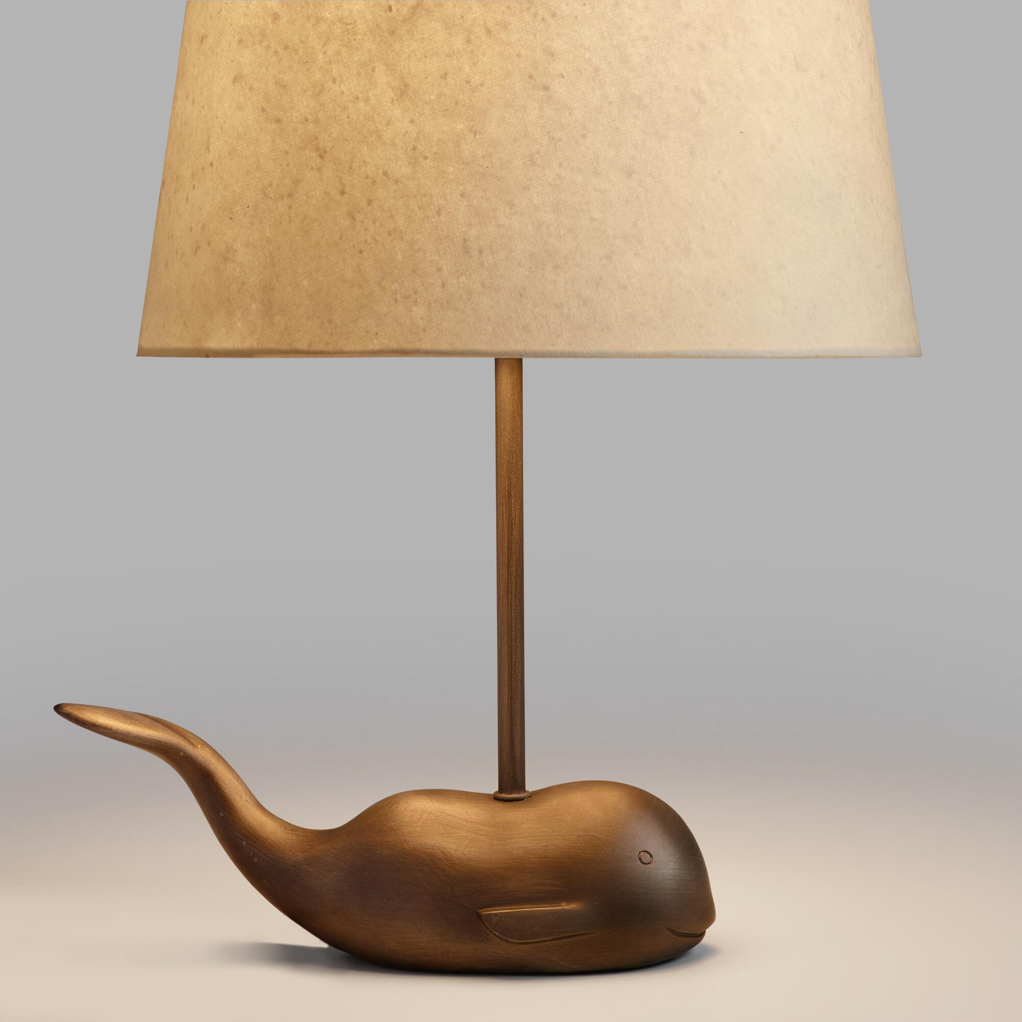 silver whale accent lamp base  world market -