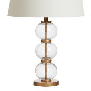 Natural burlap drum table lamp shade world market stacked glass audrey table lamp base aloadofball Image collections
