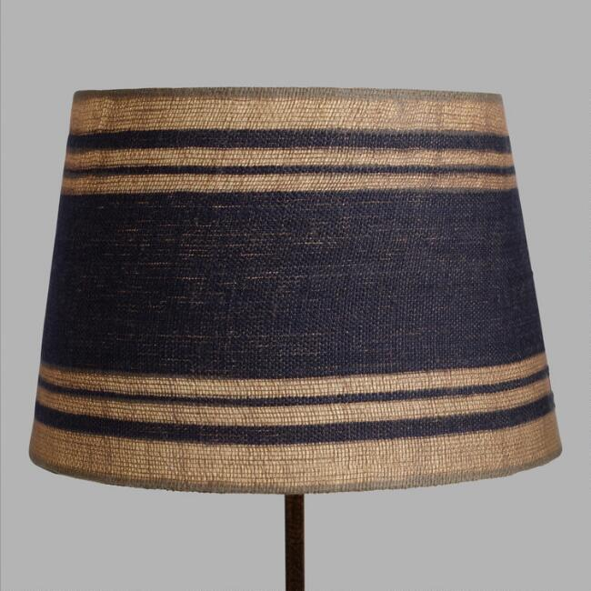 Blue Stripe Linen Accent Lamp Shade