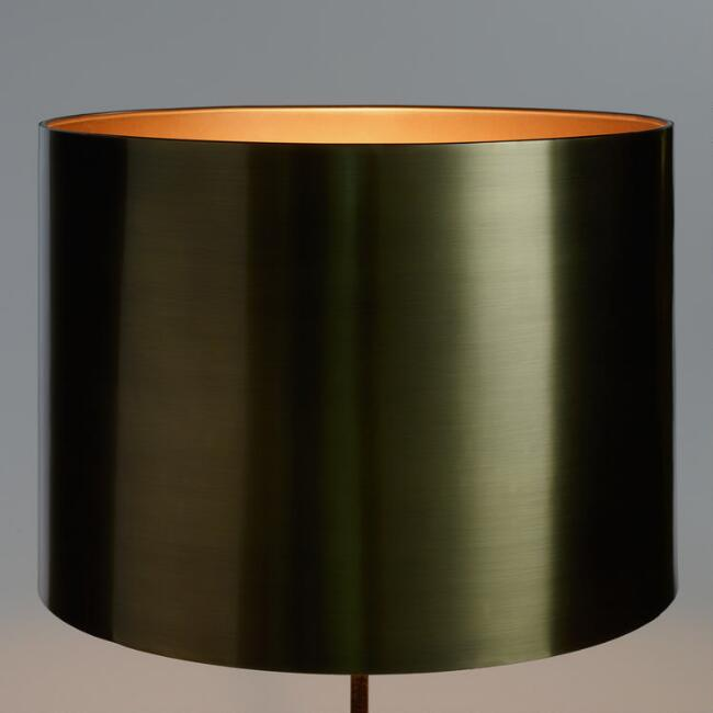 Antique brass drum table lamp shade world market antique brass drum table lamp shade aloadofball Image collections