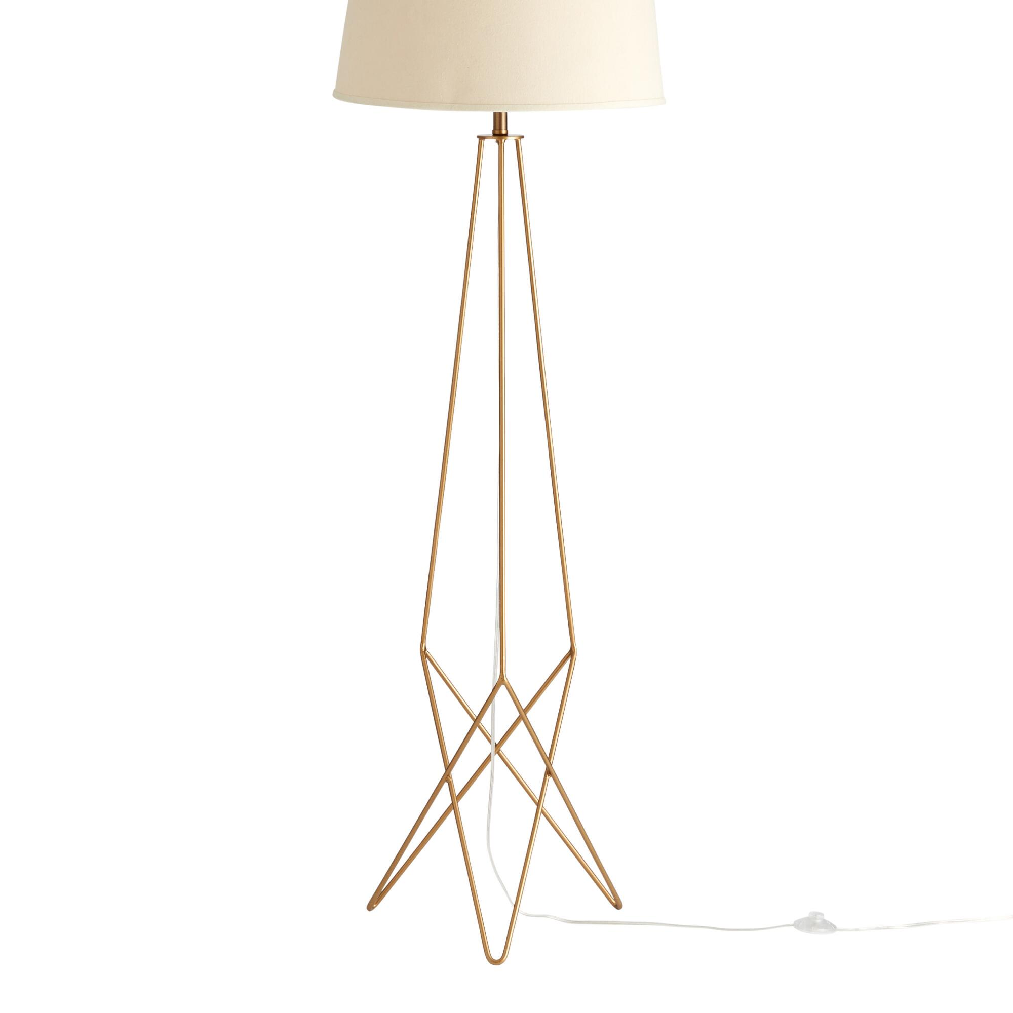 Floor lamps and tall task lamps world market antique gold hairpin floor lamp base geotapseo Image collections