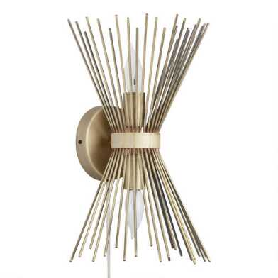 Brass Starburst Two Light Logan Wall Sconce