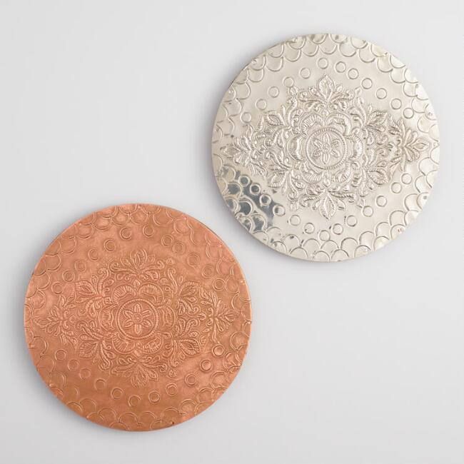 Embossed Metal Trivets Set of 2