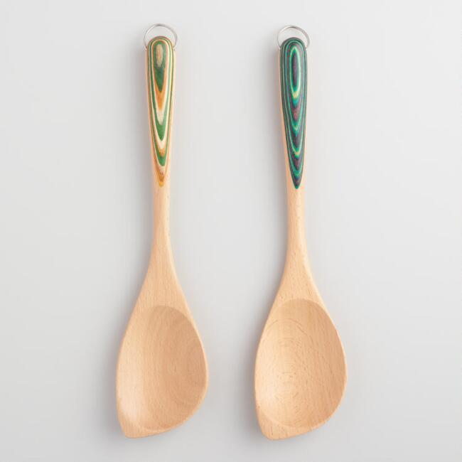 Rainbow Handle Wood Spoons Set of 2