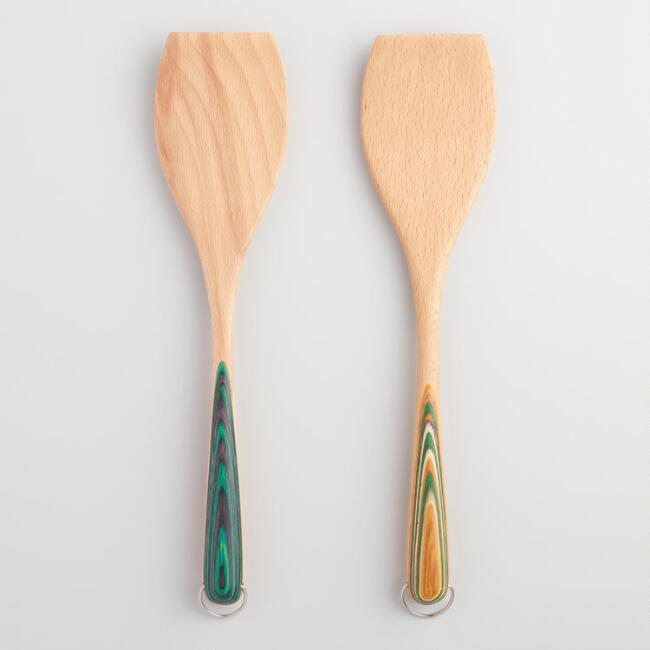 Rainbow Handle Wood Spatulas Set of 2