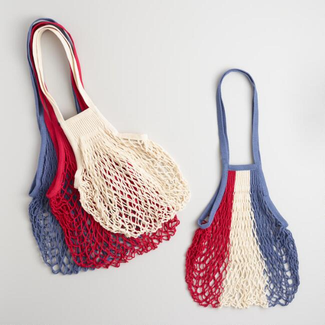 French Cotton Net Market Bags Set of 4