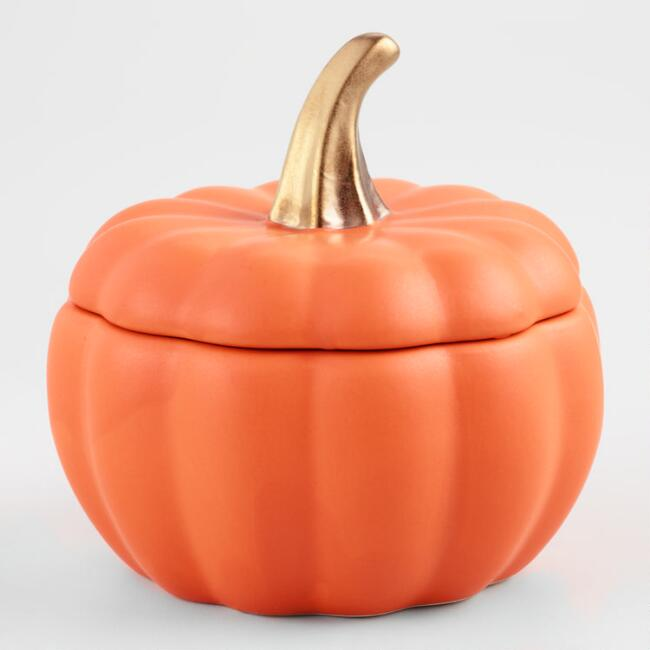 Matte Orange Ceramic Pumpkin Baker Set of 4