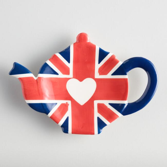 British Teapot Ceramic Tea Bag Holder