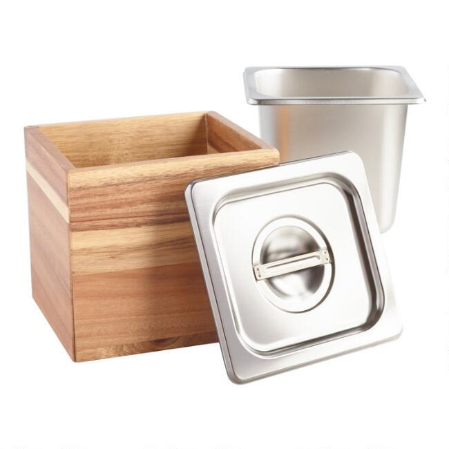 Wood And Stainless Steel Kitchen Compost Bin