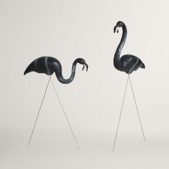 Black Zombie Flamingo Lawn Ornaments 2 Pack