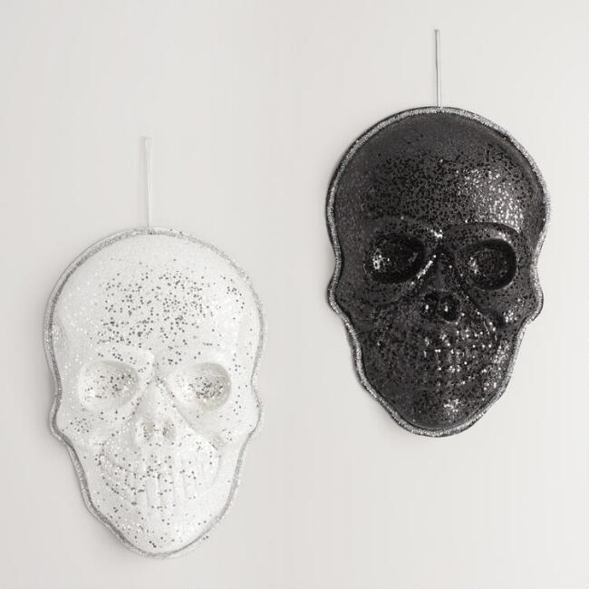Glitter Skull Wall Decor Set of 2