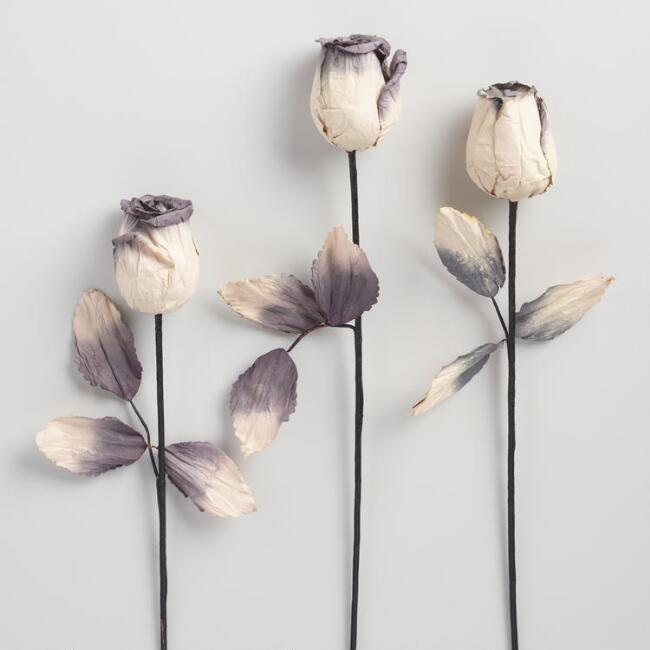 Ivory Paper Roses Set of 3
