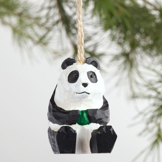 Wood Panda Ornaments Set of 3