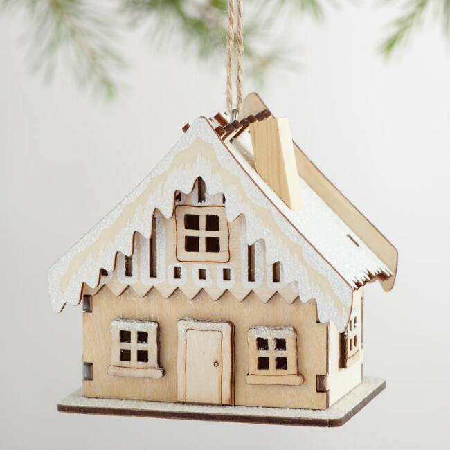 Cut Wood House Ornaments with Snow Set of 3