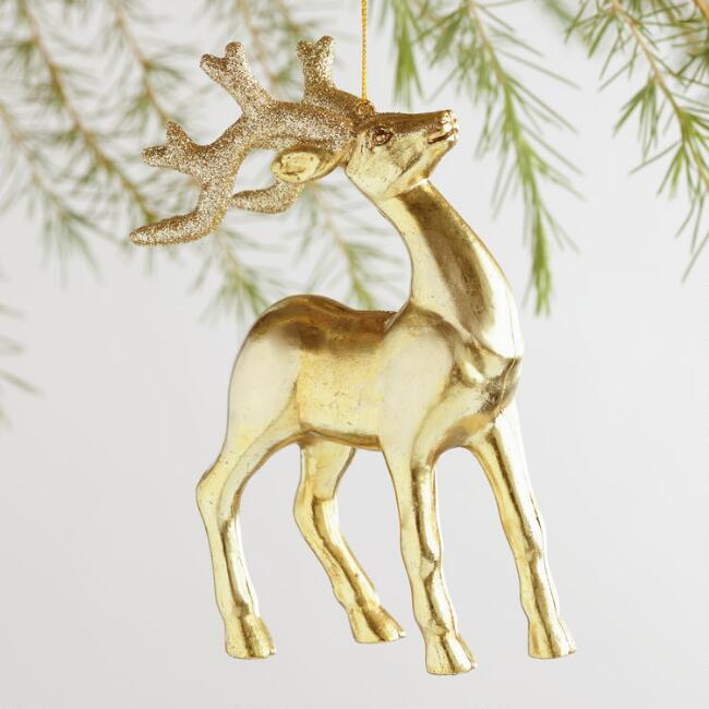 Gold & Silver Glittered Stag Ornaments Set of 4