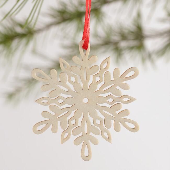 Laser Cut Wood Snowflake Boxed Ornaments 12 Pack