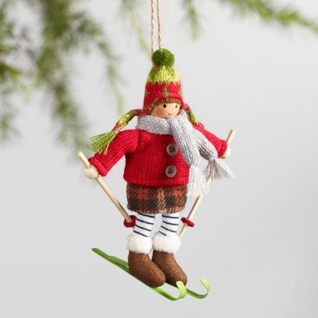 Skiing Boy and Girl Ornaments Set of 2