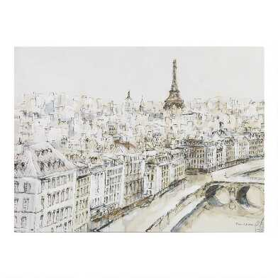 Paris City Sketch By Piotr Michal Canvas Wall Art