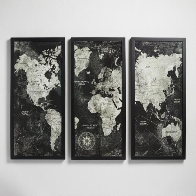 Triptych map by xander blue with frame world market gumiabroncs Gallery