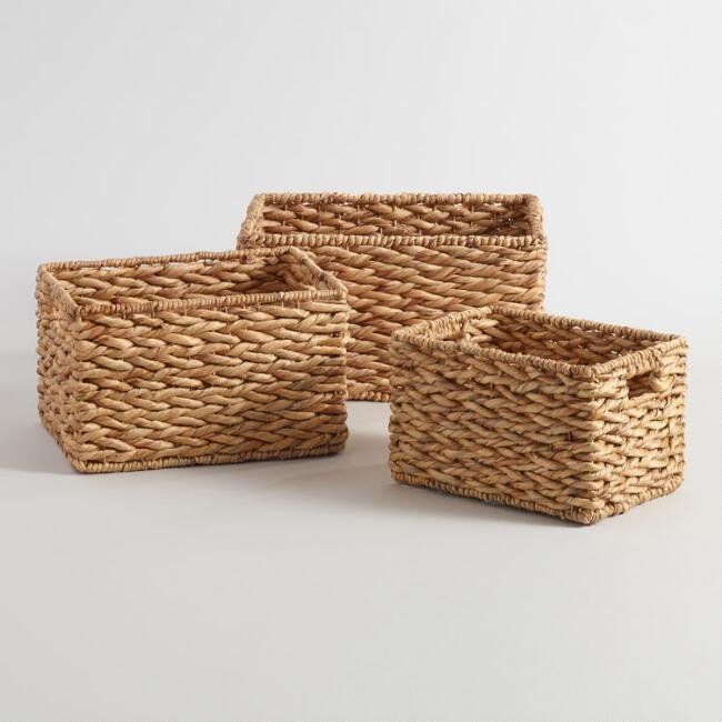 Natural Hyacinth Rectangular Cadence Baskets