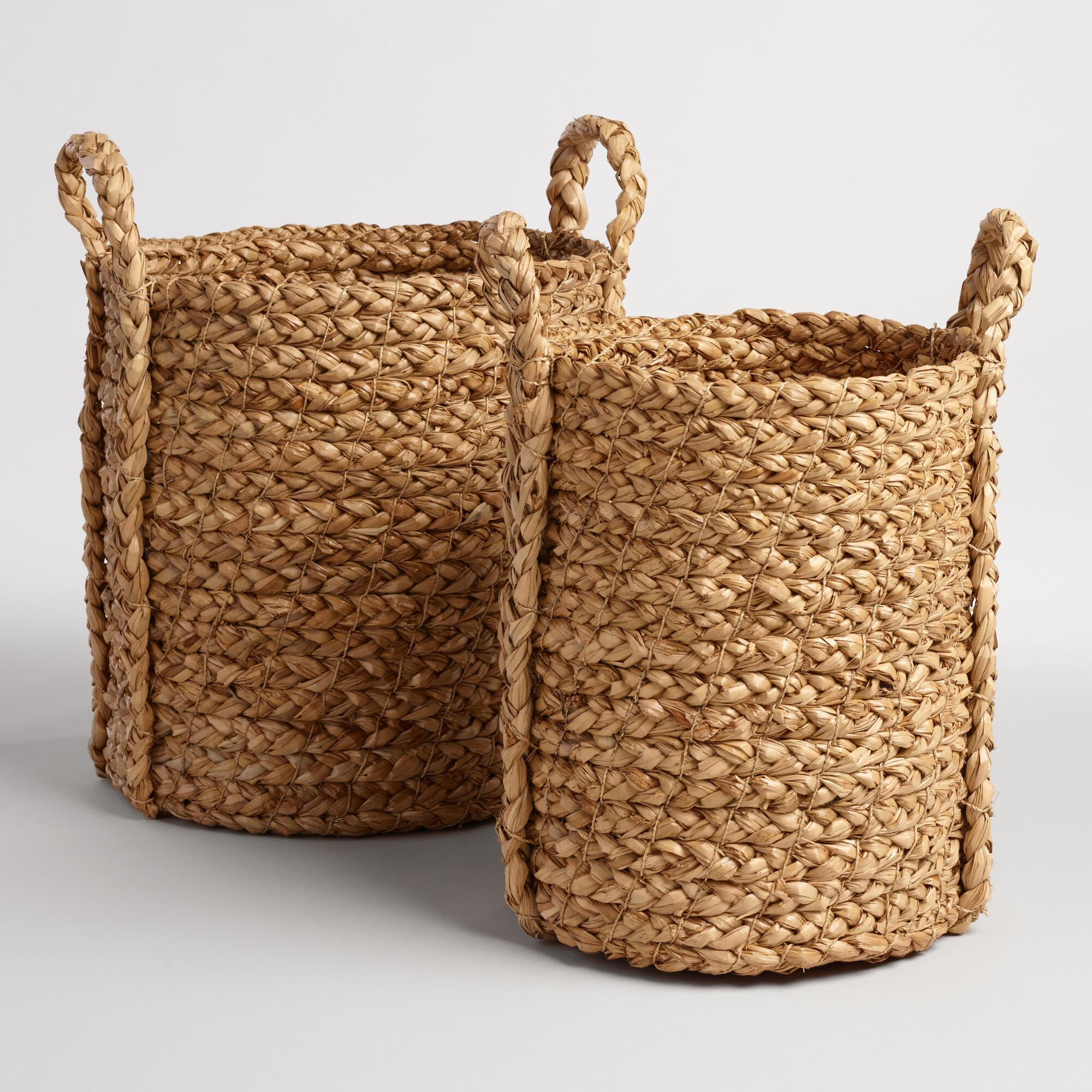 Natural Hyacinth Braided Cameron Tote Baskets - Natural Fiber - Medium by World Market Medium
