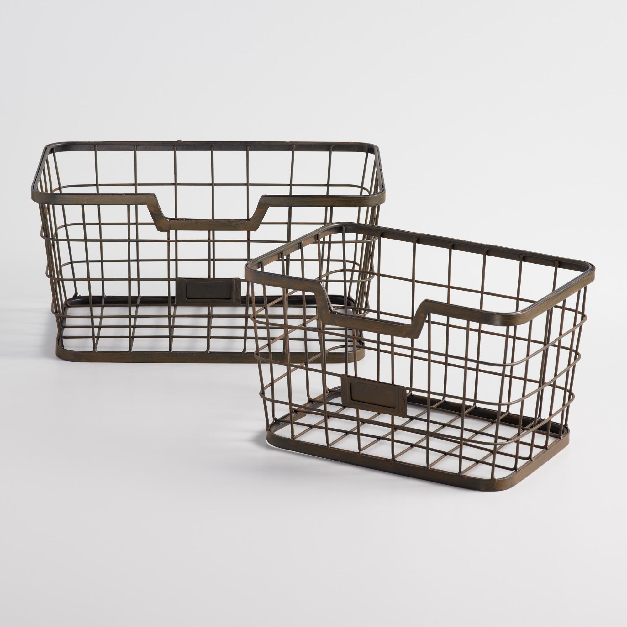 Espresso Wire Samuel Baskets - Metal - Small by World Market Small