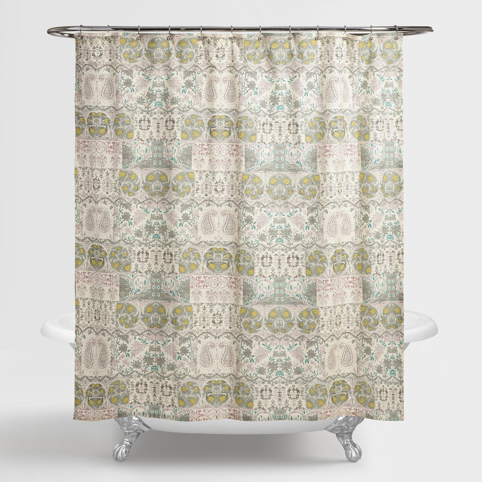Colorful shower curtain - Green Paisley Cordelia Shower Curtain