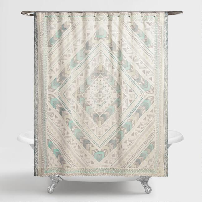 Ivory and Blue Diamond Yasmine Shower Curtain