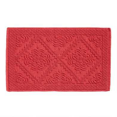 Coral Double Diamond Woven Bath Mat