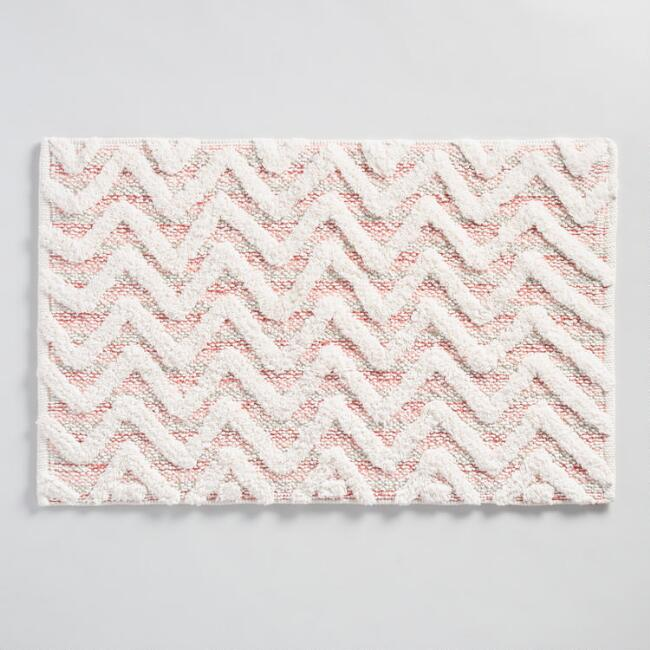 Coral Chevron Tufted Bath Mat