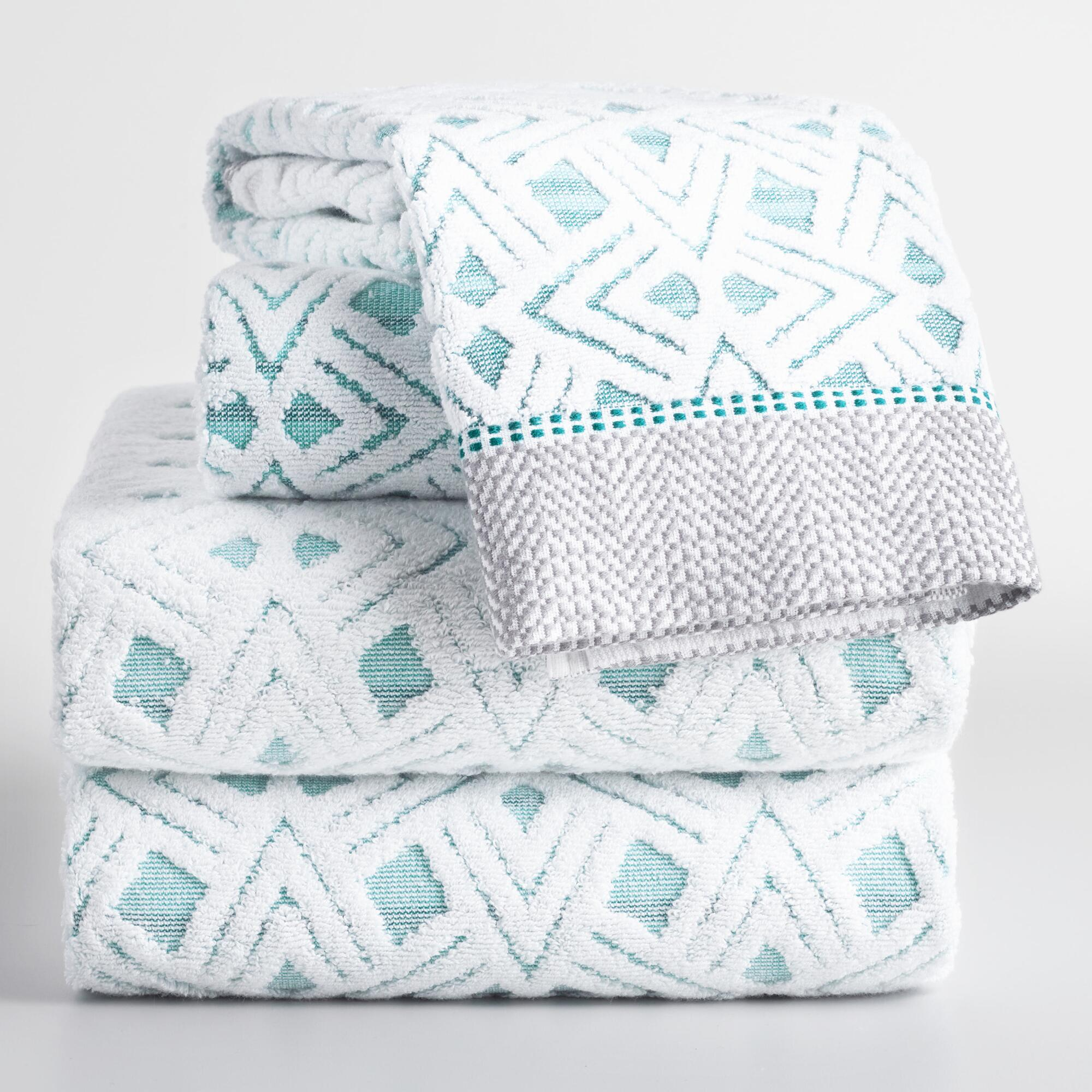 Aqua Geometric Vera Sculpted Towel Collection by World Market