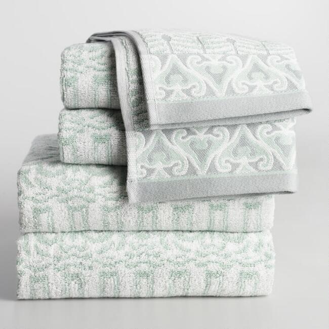 Mint Kasia Feather Bath Towel Collection