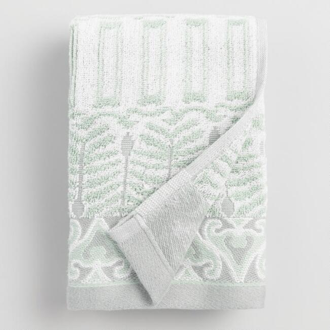 Mint Kasia Feather Hand Towel