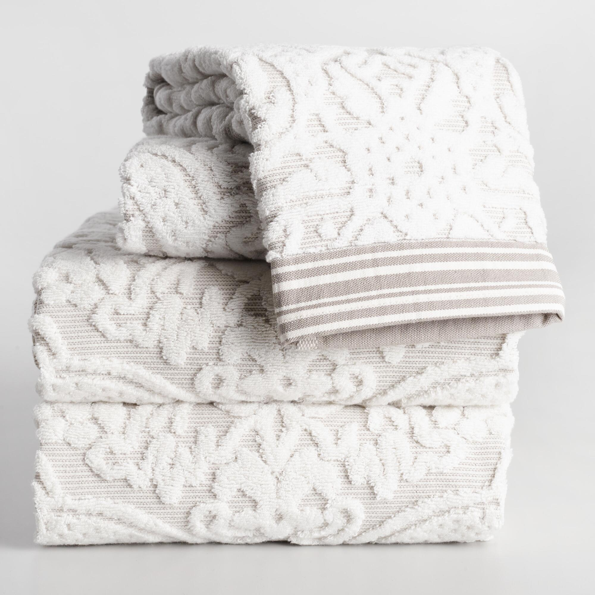 Taupe Christina Sculpted Bath Towel Collection by World Market