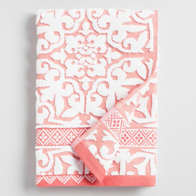 Coral and Ivory Ileana Tile Sculpted Cotton Hand Towel