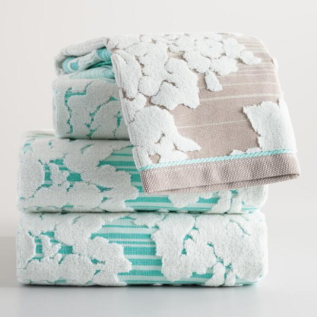 Aqua Ombre Flora Sculpted Towel Collection