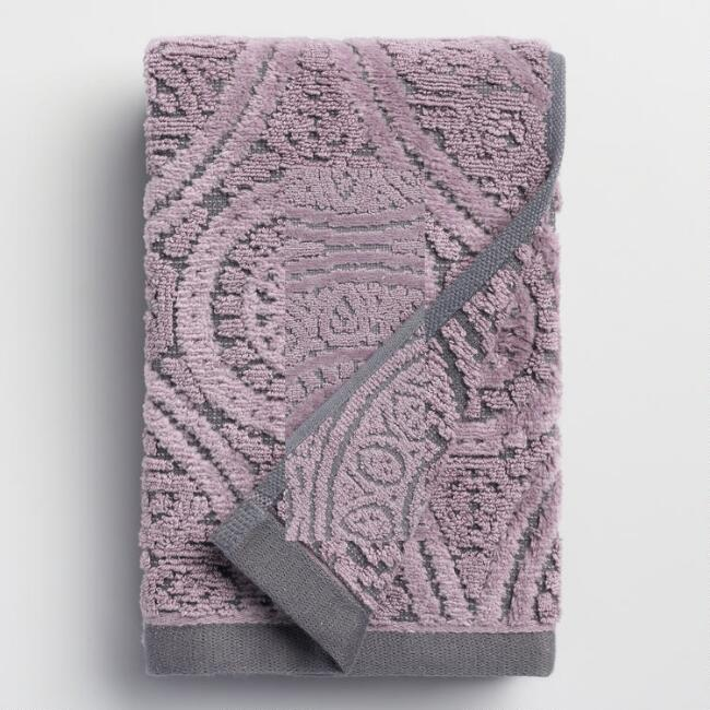 Gray and Lavender Eloise Sculpted Hand Towel