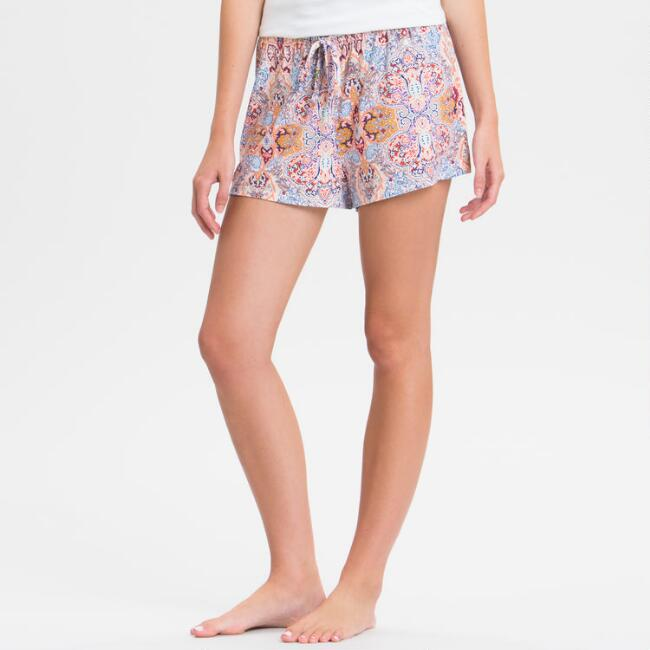 Multicolored Damask Mirabella Pajama Shorts