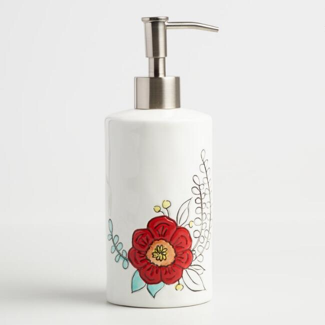 Painted Flower Ceramic Soap Dispenser