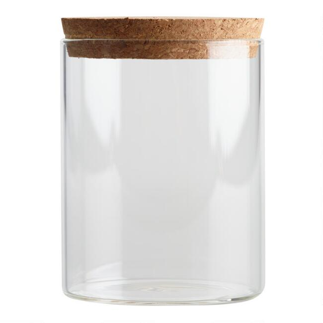 Small Glass Canister With Cork Top Set Of 2 World Market