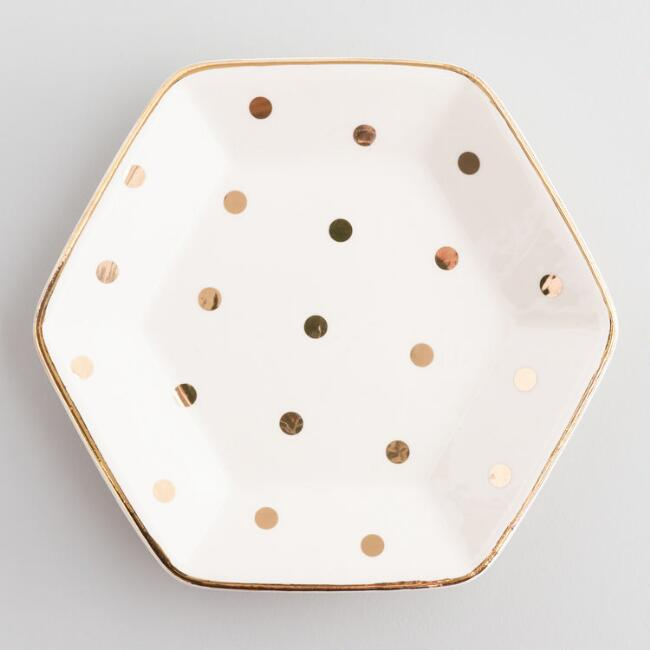 Hexagon Gold Dot Ceramic Trinket Dish